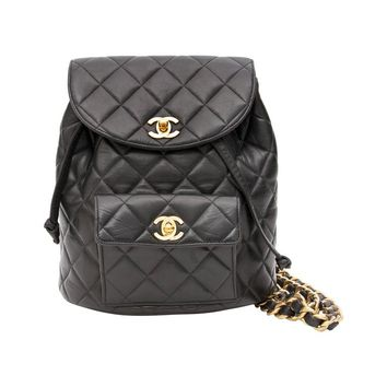 Chanel Black Quilted Leather Backpack