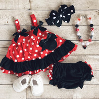 Red Polka Dot Minnie Mouse Swing Top & Bottoms Set (0-6 month)