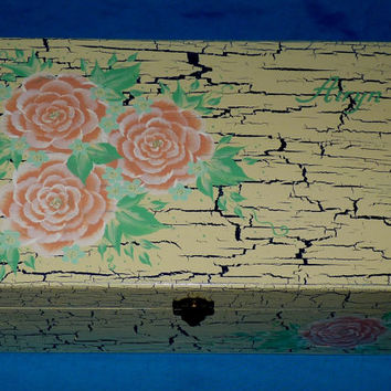 Hand Painted Baby Keepsake BOX Decorative Wood Personalized Memory Suitcase Box Baby Girl Boy Coral Mint Green Navy Cream Baby Shower Gift