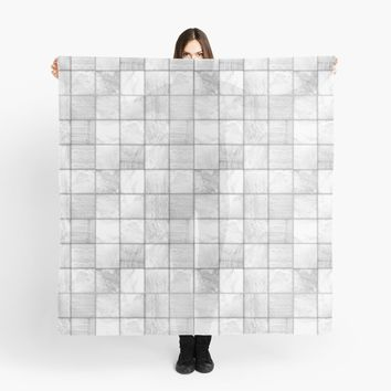 'Faux Patchwork Quilting - White Lace And Satin' Scarf by Gravityx9