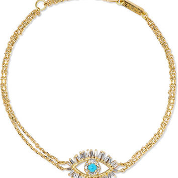 Suzanne Kalan - 18-karat gold, diamond and turquoise bracelet