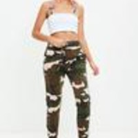Missguided - Khaki Camo Binding Striped Tracksuit Joggers