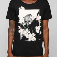 Poolhouse Florals In Bloom Raw Wide-Neck Tee- Black