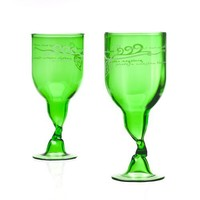 Recycled Wine Bottle Glasses - Green