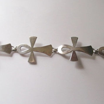 Vintage Mens Sterling Silver Ankh Bracelet - Mexico - Toggle Clasp