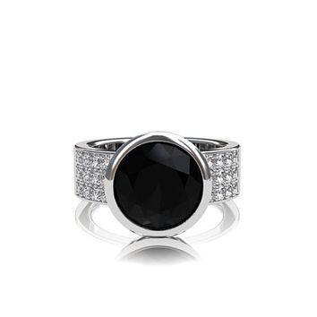 Black Spinel ring, diamond ring, engagement ring, spinel engagement, black, solitaire, bezel, custom, wide ring
