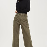 MOTO Cargo Wide Leg Cropped Jeans | Topshop