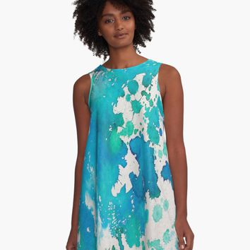 'Blue white watercolor splashes' A-Line Dress by lalylaura