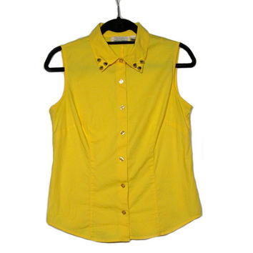 Medium / Studded Collar Tank Top / Hipster Vintage Yellow Button Down
