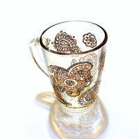 Boho Gift - Hand Painted Cup - Coffee Mug - Oriental Ornament Mug -Mehendi Cup - Gift for Mom - Art flower design