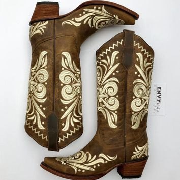 Corral Brown And Cream Embroidered Snip Boot