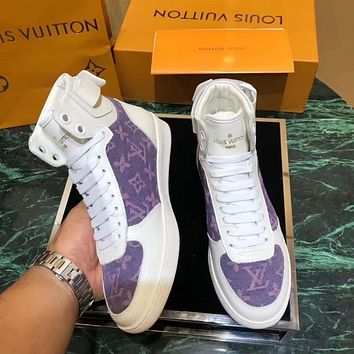 LV Tide brand new women's classic old flower logo high to help sports shoes White purple print
