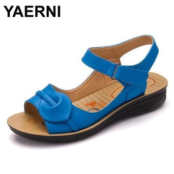 YAERNI Size Summer Women Genuine Leather Sandals Vintage Ladies Flat Sandials Ankle Strap Fashion Casual Platforms Soft Shoes