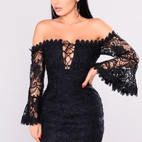 Jolene Crochet Dress - Navy