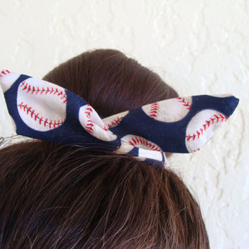 "Softball Baseball Wire Bun Wrap, Top Knot Wire Wrap Blue Baseball Mini"" Dolly Bow Wire Headband Ponytail Hair tie Hair Bun Tie Wrap"