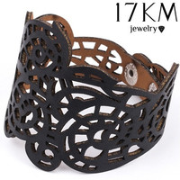 Cute Handmade Black Green White Vintage Cool Retro Steampunk Leather Flower Bracelet Jewelry Women's Fashion [9326007620]