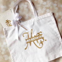 Bride Tote Bag - Personalized Bridal Gift - Bridal Shower Gift - Glitter Gold - Honeymoon Tote - Mrs. Tote Bag - Cotton Tote - Canvas Bag