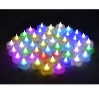 Instapark® LCL-C48 Battery-powered Flameless Color-changing LED Tealight Candles, Four Dozen Pack