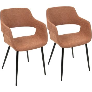 Margarite Mid-Century Modern Dining / Accent Chairs, Orange (Set of 2)