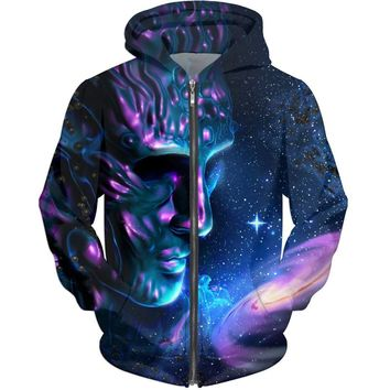 Cloudstyle Men's Winter Hoodies 20173D Printing Animals Sweatshirts With a Zipper Fashion Design Pullover Cat Dog Wolf Outswear