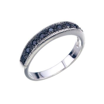 0.25 CT Black Diamond Ring With Milgrain .925 Sterling Silver
