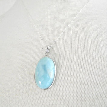 Silver Oval Larimar Necklace, Silver Necklace, 18 inch Silver Chain, Oval Larimar Pendant