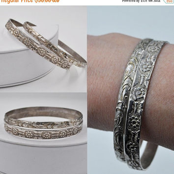 ON SALE Vintage Mexico 925 Silver Bangle Bracelet Set, Set of 2, Mexican, Floral Butterfly, Scroll, Stackable, Stacking, Lovely! #b352