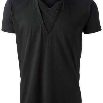 ICIKIN3 Unconditional double collar v-neck T-shirt
