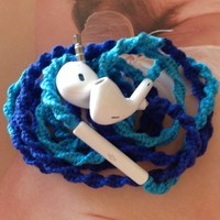 MyBudsBuzz Handmade Wrapped Tangle Free & Tangle Resistant Earbuds | Blue Belle | Genuine EarPods for iPhone iPod iPad