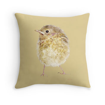 'Robin Fledgeling' Throw Pillow by Bamalam Art and Photography
