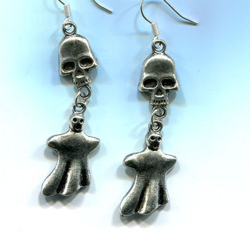 silver skull charm long earrings, ghost dangle earrings, skeleton earrings, handmade jewelry, earwire hooks fantasy goth biker punk jewelry