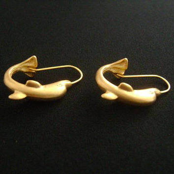Awesome Fun Cute Vintage Ocean Sea Animal Themed Fashion Jewelry Matte Satin Finish Gold Tone Porpoise Dolphin or Whale Hoop Style Earrings