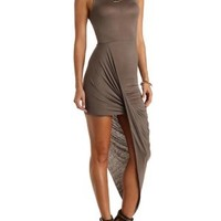 Mock Neck Asymmetrical High-Low Dress by Charlotte Russe - Olive