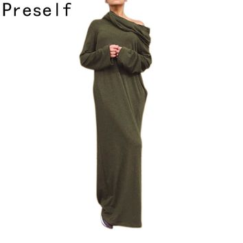 Preself Loose Hooded Maxi Dresses Women's Knit Off-Shoulder Wrap Dress Casual long Sleeves Plus Size Party 2017 Autumn Winter