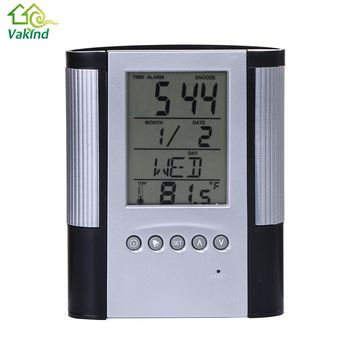 The Latest Modern LCD Display Digital Alarm Clock Multi-Function Electronic Clock  with Calendar Desktop Pen Container