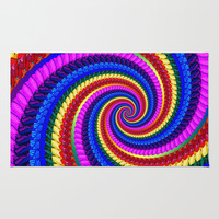 Rainbow Fractal Art Swirl Pattern Area & Throw Rug by Hippy Gift Shop