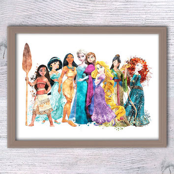 Disney princesses watercolor print Disney princess art poster Girls room wall art Nursery room decor Kids room decoration Gift idea V199