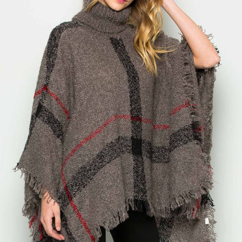 Grey Cowl Neck Plaid Poncho Pullover Sweater