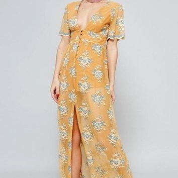 Mecca Mustard & Blue Lace Maxi Dress FINAL SALE!