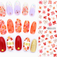 Nail Design Water Transfer Nails Art Sticker Sexy Colorful Maple Leaf Nail Wraps Sticker Tips Manicura nail supplies Decal