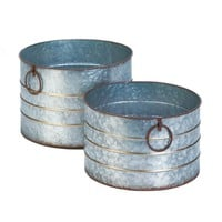 Country Farmhouse Round Galvanized Flower Planters-Set of 2