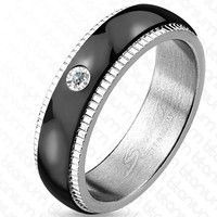 6mm Grooved Step Edge Black IP Solitaire CZ Titanium Men's Ring Wedding Band
