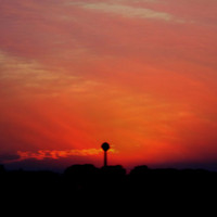 Sunset Silhouette, Digital Art Print, Home Decor, Ready to Frame Photo, Wall Hanging, Nature Photograph, Prairie, Nebraska, Orange, Fall