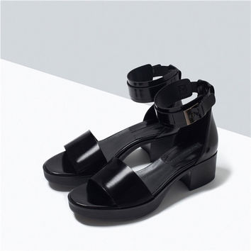Stylish Design Summer Shoes With Heel Leather Waterproof Sandals [4918351236]