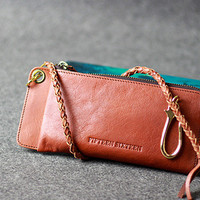 Leather men long wallet chain clutch brown vintage zip clutch men purs | EverHandmade