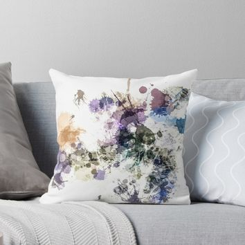 """'""""Oops!"""" Pastel Paint Splatter' Throw Pillow by Sheila Wenzel Ganny"""