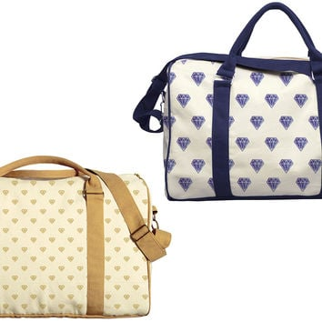 Diamond Pattern Printed Oversized Canvas Duffle Luggage Travel Bag WAS_42