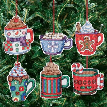 "Cocoa Mug Ornaments Counted Cross Stitch Kit 3.5""X3.5"" 14 Count Set Of 6"
