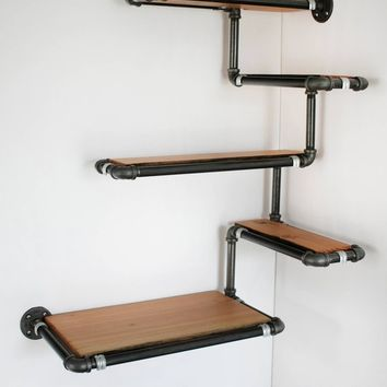 Pipe Wall Shelf with Reclaimed Wood, Custom Pipe Shelves. Made To Order Corner Shelf, Reclaimed Fir and Black Iron Pipe, Space Efficient