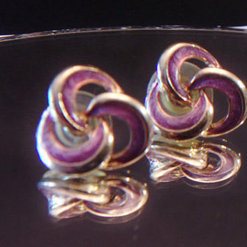 Vintage Purple Knot Earrings Enamel Twisted Retro Fashion Jewelry Accessories For Her